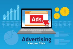 PPC Pay per click internet marketing analytic concept chart traffics
